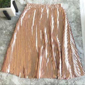 LF Seek the Label pink satin pleated midi skirt